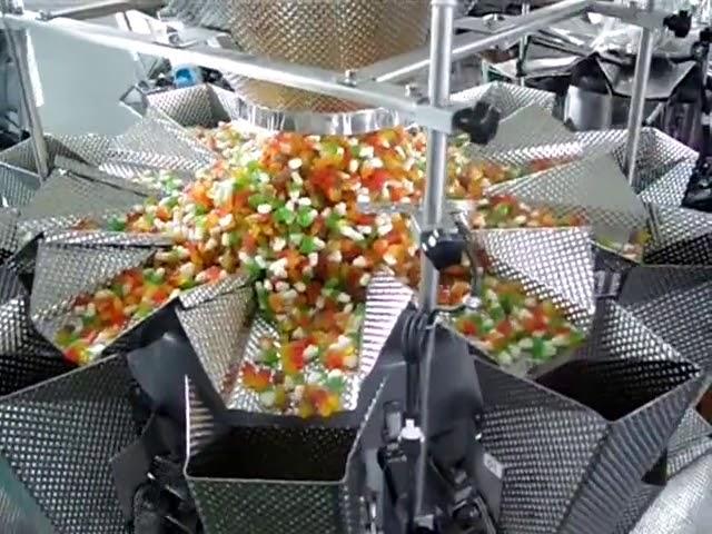 taske vertikal form fyldning 14 hoveder vejer og pakning 2 i 1 maskine til sprøde risflager
